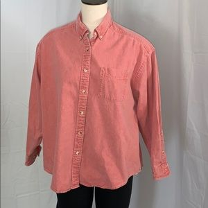 90's salmon cotton button down shirt